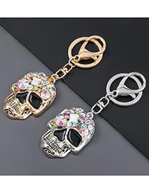 Fashion Gold Color Alloy Diamond Skull Keychain Pendant