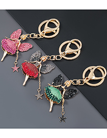 Fashion Rose Red Alloy Diamond Butterfly Flower Fairy Keychain Pendant