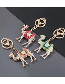 Fashion Rose Gold Alloy Oil Drop Diamond Camel Keychain Pendant