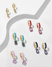 Fashion Golden Round Pendant Micro-set Zircon Gold-plated Geometric Earrings