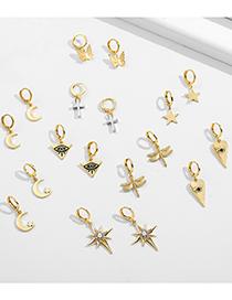 Fashion Owl Stars And Moon Starlight Cone Eye Alloy Earring Set