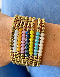 Fashion Color Mixing 4mm Non-fading Gold Bead Faceted Crystal Beaded Bracelet