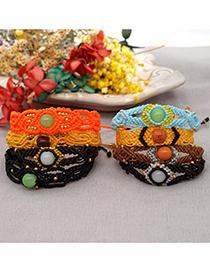 Fashion Black Wax Cord Hand-made Natural Stone Beaded Braided Bracelet