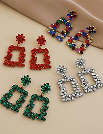 Fashion Red Alloy Diamond Geometric Diamond Hollow Square Earrings