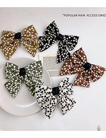 Fashion White Bowknot Floral Printed Fabric Hairpin
