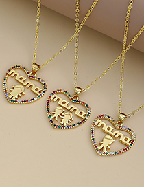 Fashion Golden Copper Inlaid Zircon Letters Mama Boy And Girl Necklace