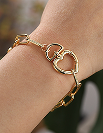 Fashion Golden Copper Love Thick Chain Bracelet