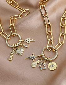 Fashion Golden Copper Inlaid Zircon Eyes Pineapple Necklace