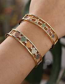 Fashion Golden Copper Inlaid Zircon Heart Bracelet
