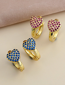 Fashion Blue Copper Inlaid Zircon Heart Earrings