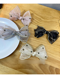 Fashion Pink Lace Mesh Bow Hairpin With Diamonds