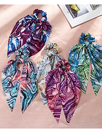 Fashion Blue Powder Silk Scarf Ribbon Tie-dye Large Intestine Circle Hair Rope