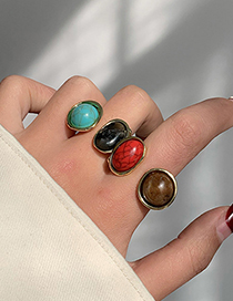 Fashion Red + Brown Blue Turquoise Contrast Alloy Open Ring