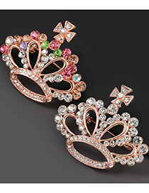 Fashion Color Alloy Diamond Crown Hollow Brooch
