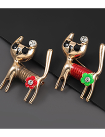 Fashion Red Cat Alloy Oil Drop Diamond Flower Cat Brooch