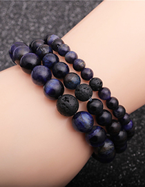 Fashion 6mm Blue Tiger Eye Stone + A Volcanic Stone Tiger Eye Stone Volcanic Stone Beaded Elastic Bracelet