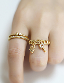 Fashion Geometry Key Lock Micro-inlaid Zircon Open Ring