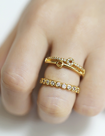 Fashion Round 2 Geometric Round Copper Gold-plated Open Ring