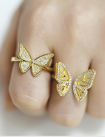 Fashion Golden 1 Adjustable Ring With Butterfly Opening