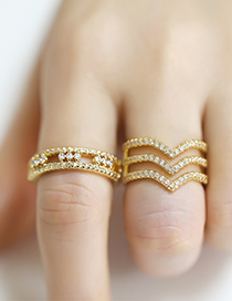 Fashion Geometry Geometric Diamond-set Copper And Gold-plated Open Ring