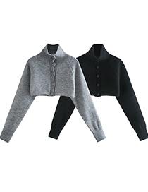 Fashion Black Button-decorated Turtleneck Short Sweater Sweater