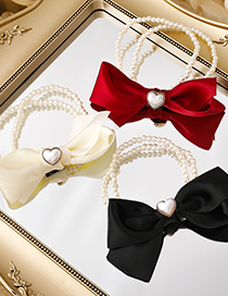 Fashion Red Love Pearl Bow Hair Rope