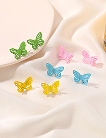 Fashion Yellow Double-layer Hollow Butterfly Alloy Earrings