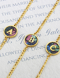 Fashion Gold-plated Abalone Shell Z Round Abalone Shell Letters Gold-plated Titanium Steel Bracelet