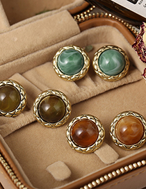 Fashion Armygreen Inlaid Turquoise Round Alloy Earrings
