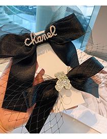Fashion Bear Drill Letters Diamond-studded Bear Geometric Lace Mesh Hairpin