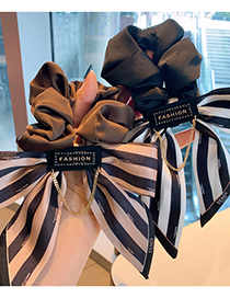 Fashion Coffee Color Stripes Wide-sided Striped Letter Bow Hair Rope