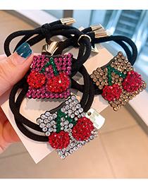 Fashion Rose Red Diamond Diamond-studded Cherry Geometric Alloy Hair Rope