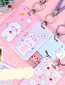 Fashion Hand Strap Card Set-lilac Bubble Girl Printed Transparent Lanyard Keychain Card Holder