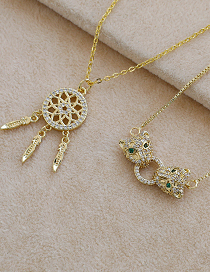 Fashion Golden Copper Inlaid Zircon Panther Head Necklace