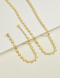 Fashion Heart Bracelet Heart Shaped Rice Chain Stainless Steel 18k Gold Textured Bracelet Necklace