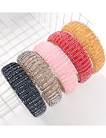 Fashion White Pure Color Acrylic Crystal Beaded Broadband Hair Band