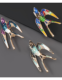 Fashion Color Alloy Drop Oil Diamond Swallow Brooch