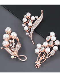 Fashion Gold Color Pearl And Diamond Dragonfly Brooch