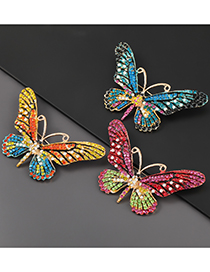 Fashion Yellow Alloy-studded Butterfly Brooch