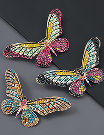 Fashion Dark Green Alloy Studded Butterfly Brooch