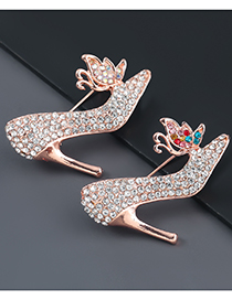 Fashion Color Alloy Diamond Butterfly High Heels Brooch