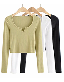 Fashion White Small V-neck Long Sleeve Slim T-shirt