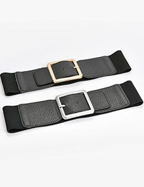 Fashion Black-gun Buckle Alloy Wide Belt With Elastic Elastic Belt Buckle