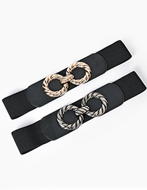 Fashion Black-gun Buckle Alloy Double Round Buckle Elastic Elastic Wide Belt