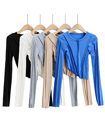 Fashion Sapphire Irregular Slim Long-sleeved T-shirt With Solid Color Hem
