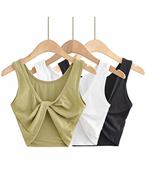 Fashion Black Solid Color Knot Slim-fit Tank Top