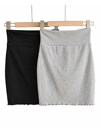 Fashion Gray Solid Color High Waist Slim Fit Hip Skirt With Wooden Ears