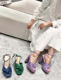 Fashion Violet Square-toed Velvet High-heeled Sandals With Chunky Heel Bow
