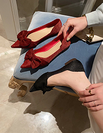 Fashion Red Bowknot Flat Pointed Soft Sole Shoes