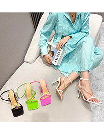 Fashion Pink Open-toe Sandals With Square Toe Straps On Chain